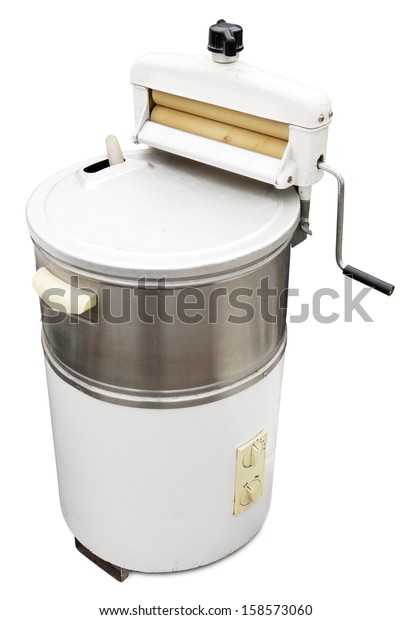 Old washing machine isolated on white. Clipping path included.
