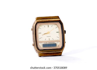 Old watch on white background