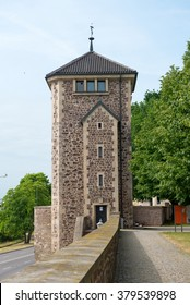 Old watch tower on Furstenwall (river Elba embankment) in Magdeburg, Germany