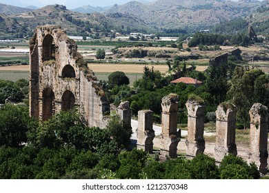 Old water aqueduct device near theater Aspendos in Antalya, archeology background. Constructed by Greece architect Eenon during time of Mark Aurelius