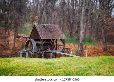 old water mill in conservation,  Astra Museum of Traditional Folk Civilization, Sibiu city, Transylvania, Romania