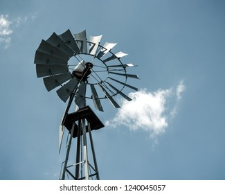 Old Water Pump Windmill Shadowed by the Sun