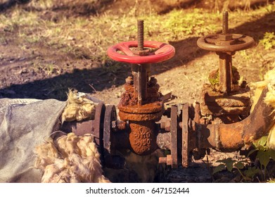 Old Water shut-off valves. Toned