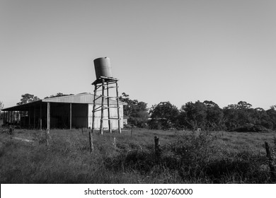 Old water tank on a lean.