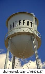 old water tower landmark, downtown Gilbert Arizona
