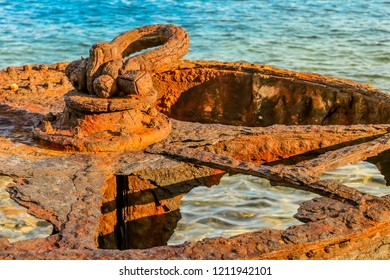old water valve. Old rusty metal, Corrosion due to salt sea water