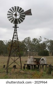 old water windmill and tank