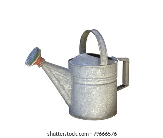 Old Watering Can Isolated on White