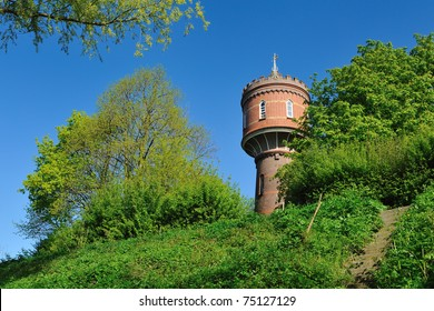 An old watertower in the Netherlands during springtime