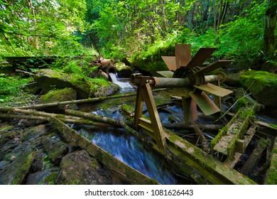 Old waterwheel in a  river in Oslo