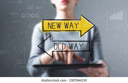 Old way or new way with business woman using a tablet computer