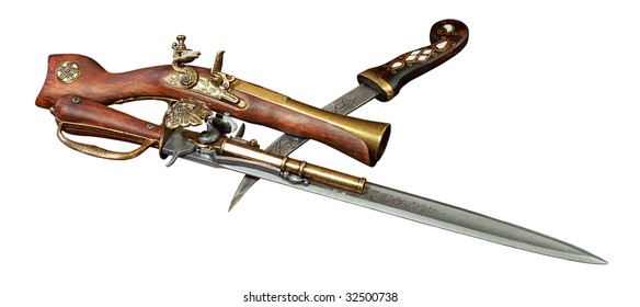 old weapons on a white background
