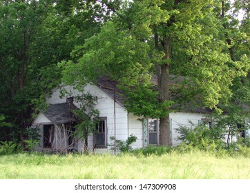 old weathered abandoned farm buildings house in trees
