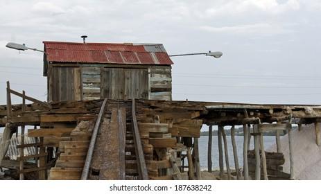 old weathered caribbean salt refinery