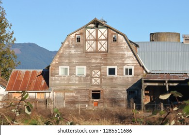 An old, weathered gambrel barn with a big hayloft and a roof with two slopes on each side, the inner one shallow, and the outer one steep.