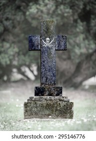 Old weathered gravestone in the cemetery - Pirate