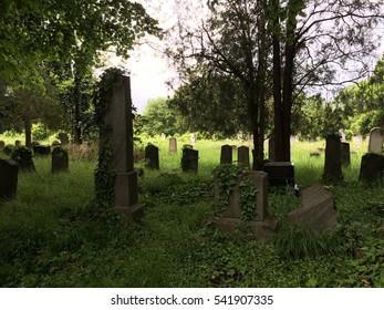 old weathered graveyard wide shot
