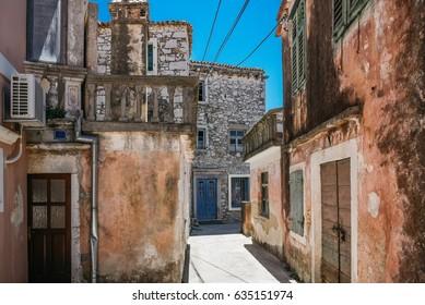 old weathered houses in Sukosan at Dalmatian Coast in Croatia