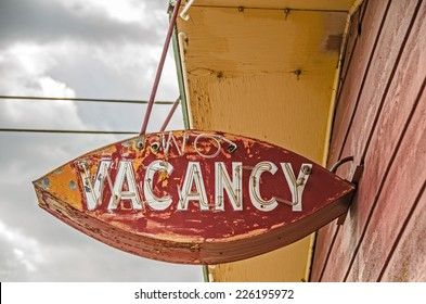 Old, weathered, neon no vacancy sign for a former motel on Route 66