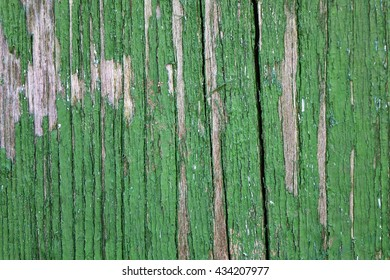 Old Weathered Painted Green Wood Background Texture. Vintage Timber Background. Peeled Green Paint On Old Wood Board.