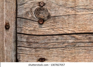 Old Weathered Rotten Cracked Knotted Rough Pine Wood Floorboard