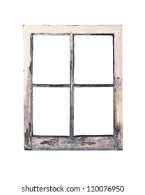 Old Weathered Rustic Window Frame With Peeling Paint