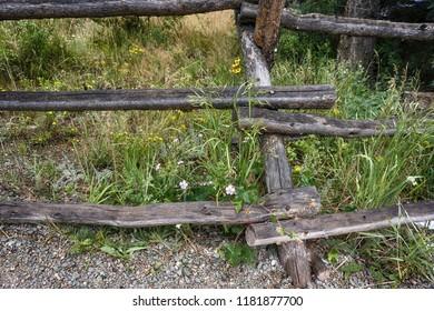 old weathered split rail fence