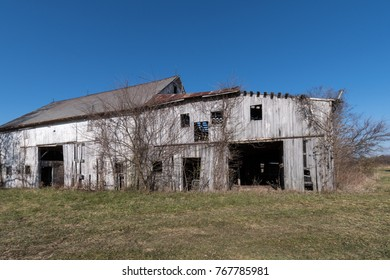 Old Weathered White Barn