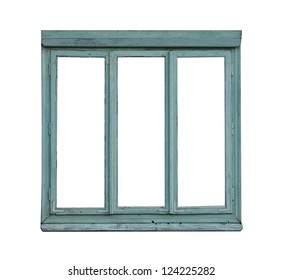 Old weathered  window isolated on white
