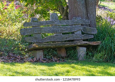 Old weathered wooden park bench in the garden