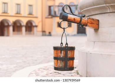 Old well at castle courtyard in Belarus, Europe