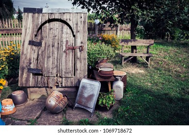 An old well with a door like it was used in the 19th century. Recorded in Poland.