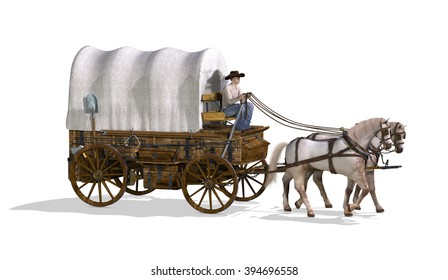 An old west covered wagon - 3d render.