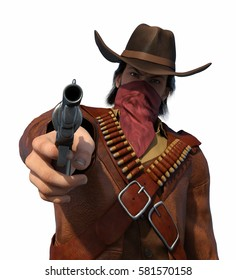 An old west outlaw is aiming his gun at you - 3d render.