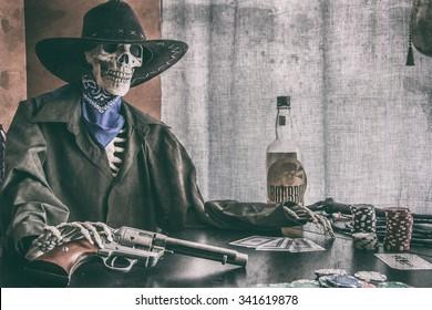 8275fbd109f Old West Poker Skeleton Vintage. Old west bandit outlaw skeleton at a poker  table with