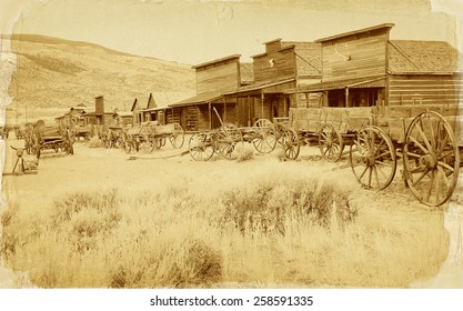 Old west, Old trail town, Cody, Wyoming, United States, vintage postcard version