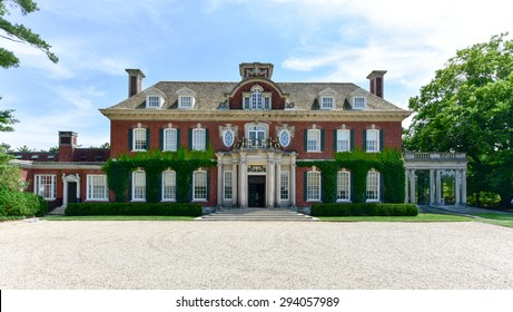 Old Westbury, New York - July 3, 2015: Long Island Gold Coast Mansion at Old Westbury Gardens