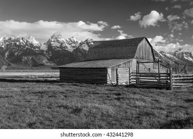 Old western barn in Black and White with the Grand Teton, Wyoming, USA.