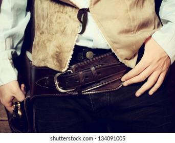 Old western belt with Colt