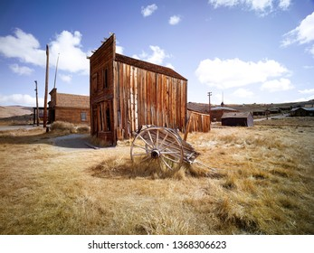 Old western gold mine shed in Bodie California