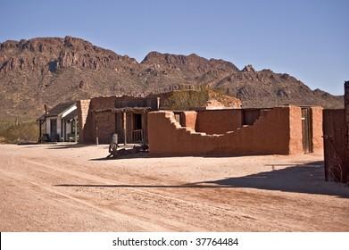 Old Western Street with adobe ruins outside Tucson, Arizona.