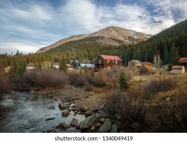 Old Western Wooden Buildings in St. Elmo Gold Mine Ghost Town in Colorado, USA hidden in mountains