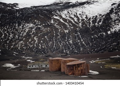 Old Whaling Station Structures on Deception Island, Antarctica