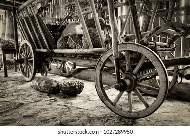 Old wheel cart in a traditional village. B & W high detail