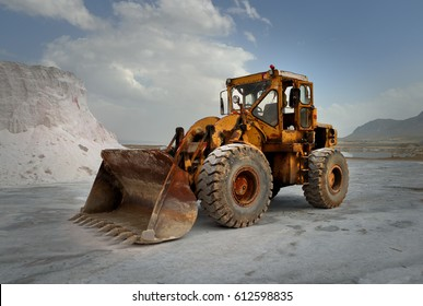 Old wheel loader in a salt mine