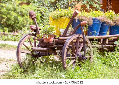 Old wheel wooden cart with flower pots in the garden. Carpathian mountains in the summer. Ukraine. Close up.