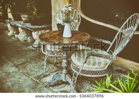 Old White Antique Wrought Iron Furniture Stock Photo Edit Now New Antique White Dining Room Exterior