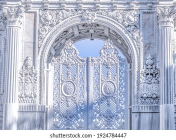 the old white arch shaped door
