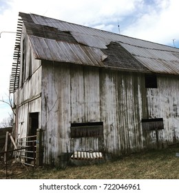Old White Barn with Tin Roof