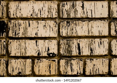 Old white brick. Brickwork. Old brickwork. The wall is built of white brick. Architectural texture. Silicate brick. Dirt on the wall.